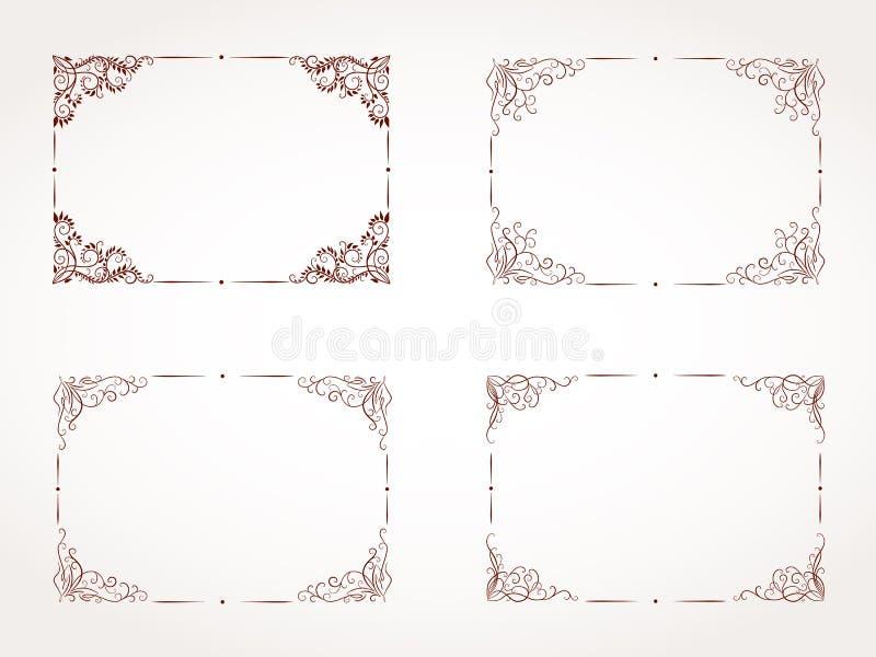 Комплект вектора прямоугольной орнаментальной рамки стоковое фото