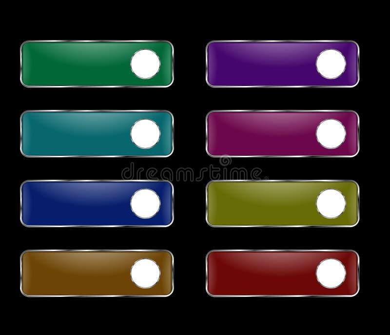 Комплект вектора прямоугольных кнопок с круглой рамкой бесплатная иллюстрация