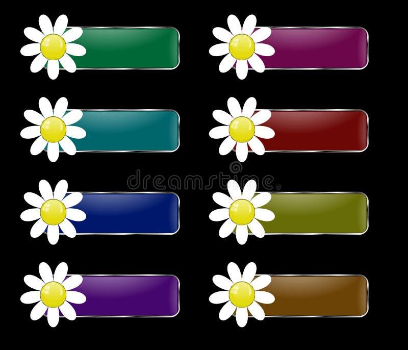 Комплект вектора прямоугольных кнопок с цветком иллюстрация штока