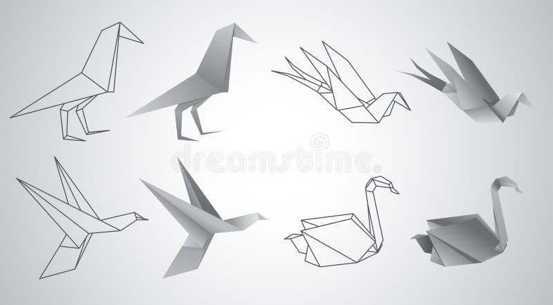 Комплект вектора птиц Origami иллюстрация штока