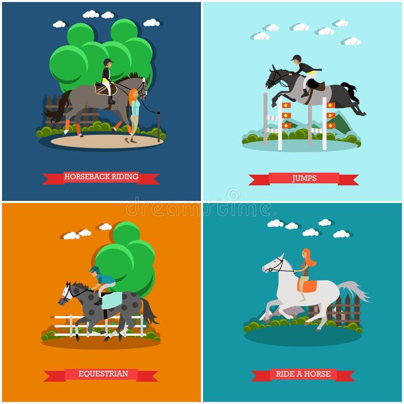 Комплект вектора плакатов концепции лошади в плоском стиле иллюстрация штока