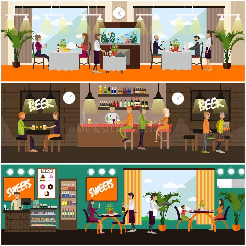 Комплект вектора плакатов концепции паба и ресторана, плоского стиля бесплатная иллюстрация