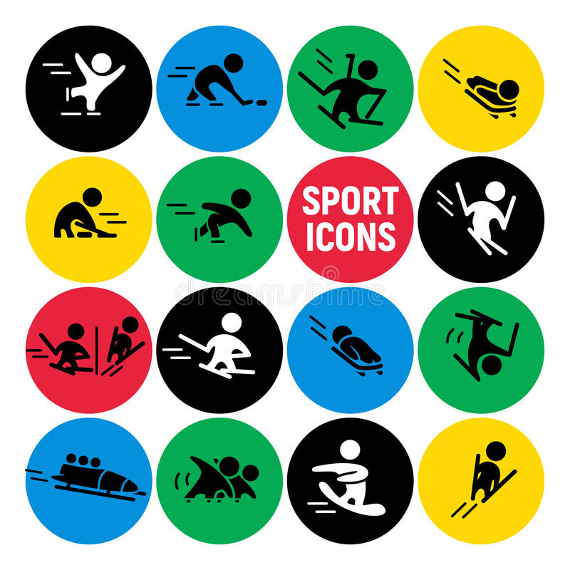 Комплект вектора плоских значков спорта изолированных на красочных круглых предпосылках иллюстрация штока