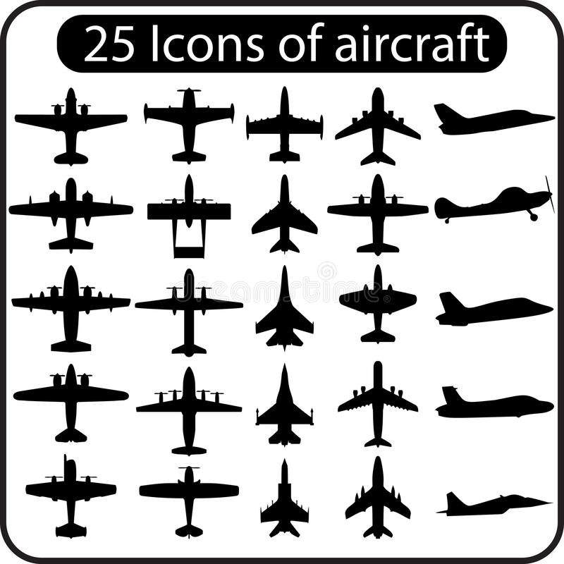 Комплект вектора различных значков самолета стоковое изображение