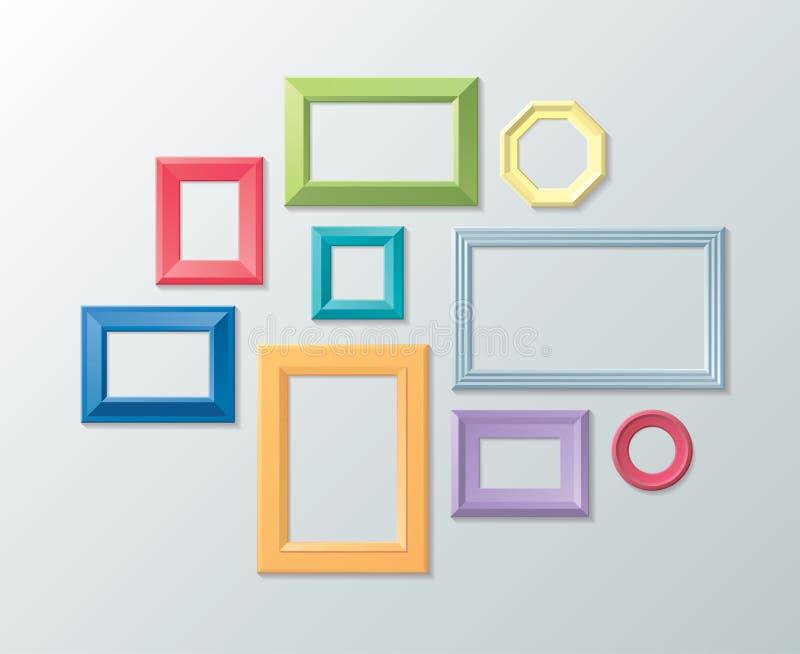 Комплект вектора рамок фото на стене иллюстрация вектора