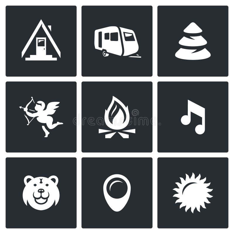 Комплект вектора располагаясь лагерем значков Лагерь, трейлер, лес, Romance, огонь, музыка, животное, место, погода иллюстрация штока