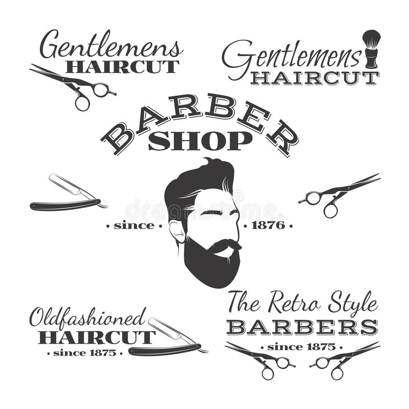 Комплект вектора ретро логотипа, ярлыков, значков и дизайна парикмахерской иллюстрация штока