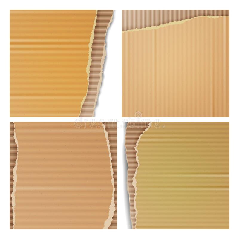 Комплект вектора рифлёного картона Реалистической сорванные текстурой обои картона с сорванными краями Снабжения обслуживают, скл иллюстрация штока
