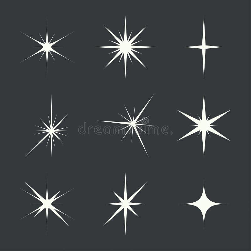 Комплект вектора светов искры иллюстрация штока