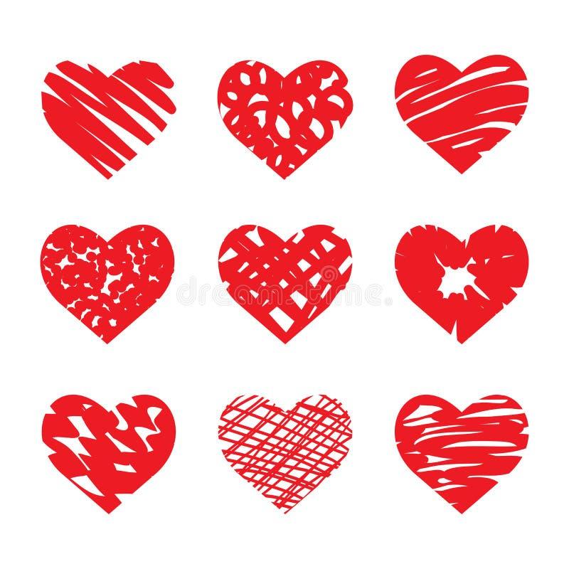Комплект вектора сердец нарисованных рукой Красный цвет иллюстрация вектора