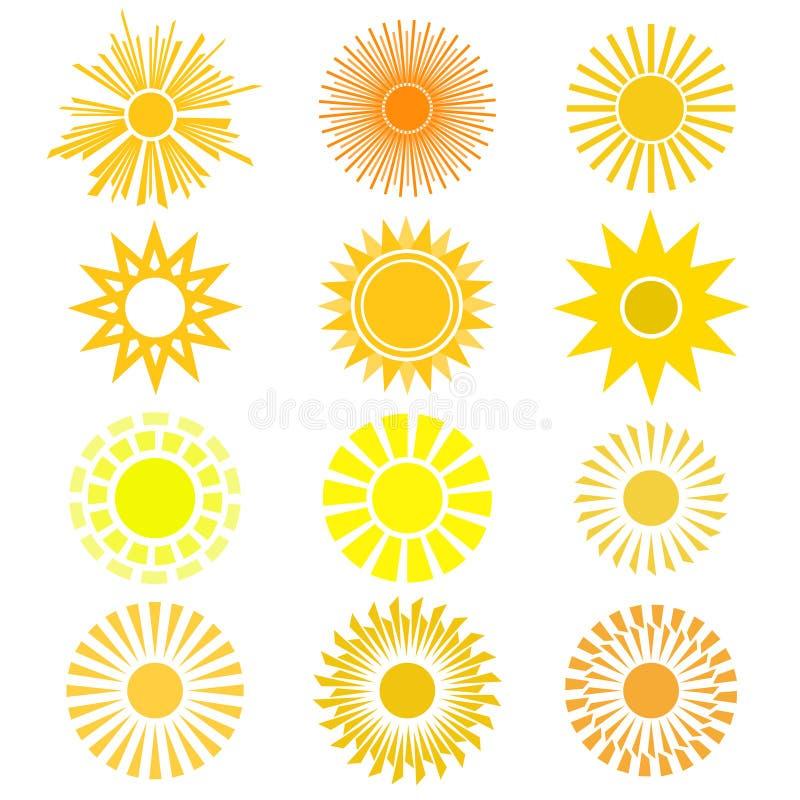 Комплект вектора символа солнца Различные взгляды солнца в желтом цвете и o иллюстрация вектора
