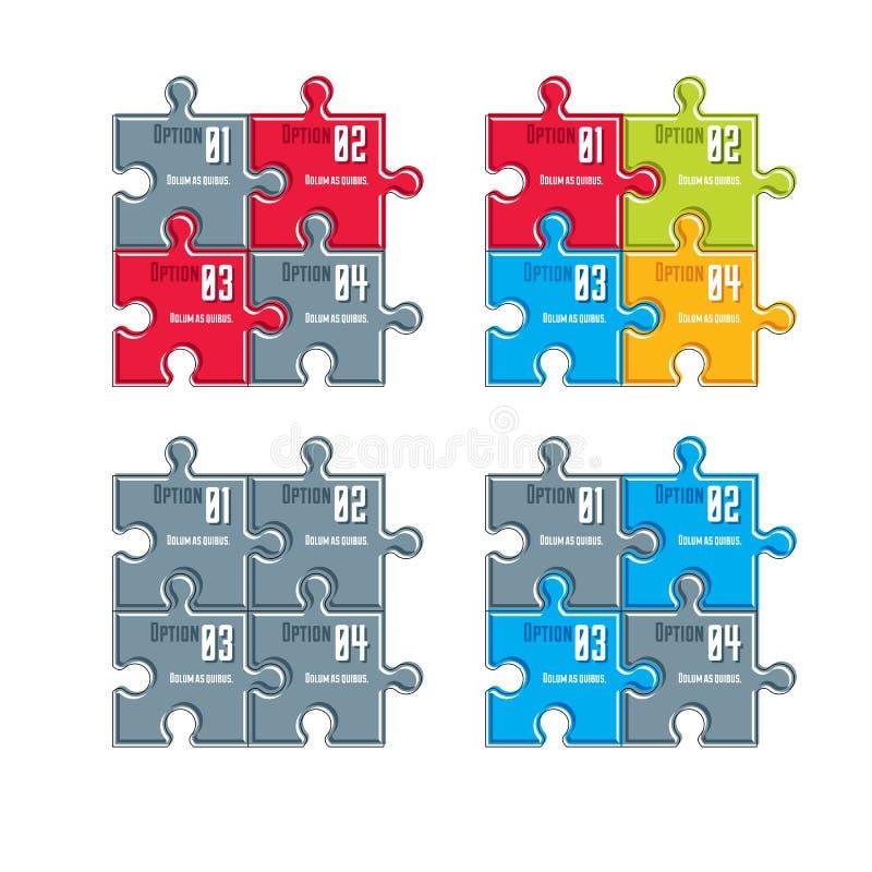 Комплект вектора составов другого цвета infographic с puzz иллюстрация штока
