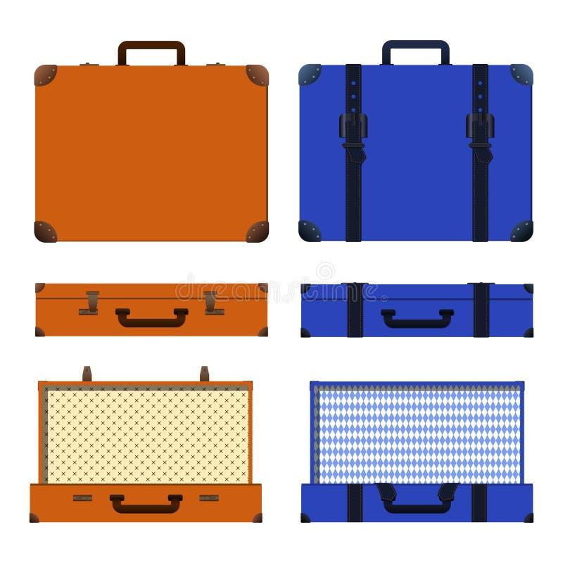 Комплект вектора старых чемоданов Брайн и голубой ретро чемодан иллюстрация вектора