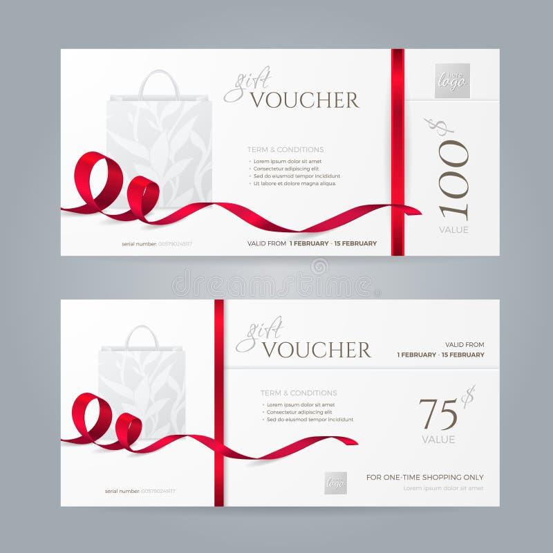 Комплект вектора стильных подарочных сертификатов с красными лентами и бумажной хозяйственной сумкой бесплатная иллюстрация