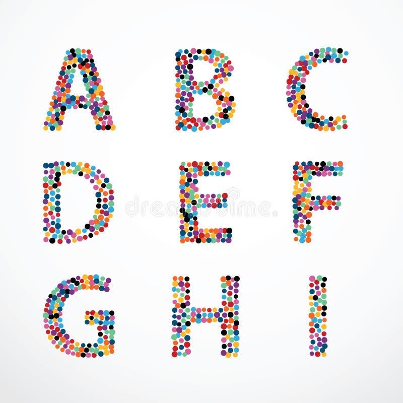 Комплект вектора стиля пункта цвета круга алфавита бесплатная иллюстрация