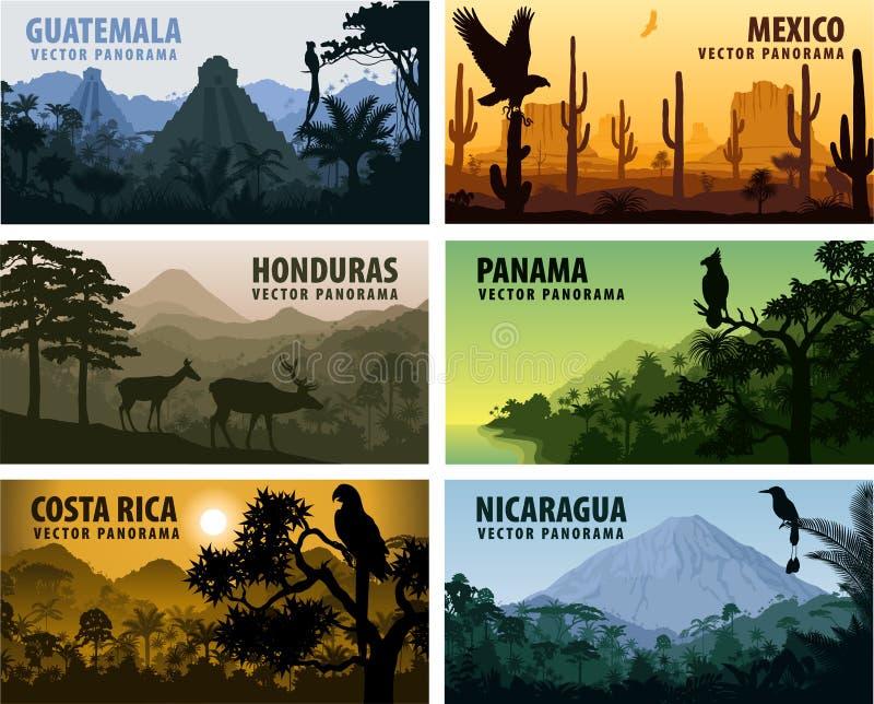 Комплект вектора стран Центральной Америки - Гватемалы panorams, Мексики, Гондураса, Никарагуа, Панамы, Коста-Рика иллюстрация вектора