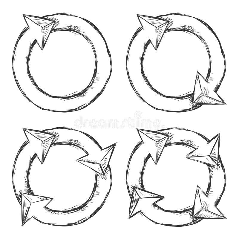 Комплект вектора стрелок круга эскиза бесплатная иллюстрация