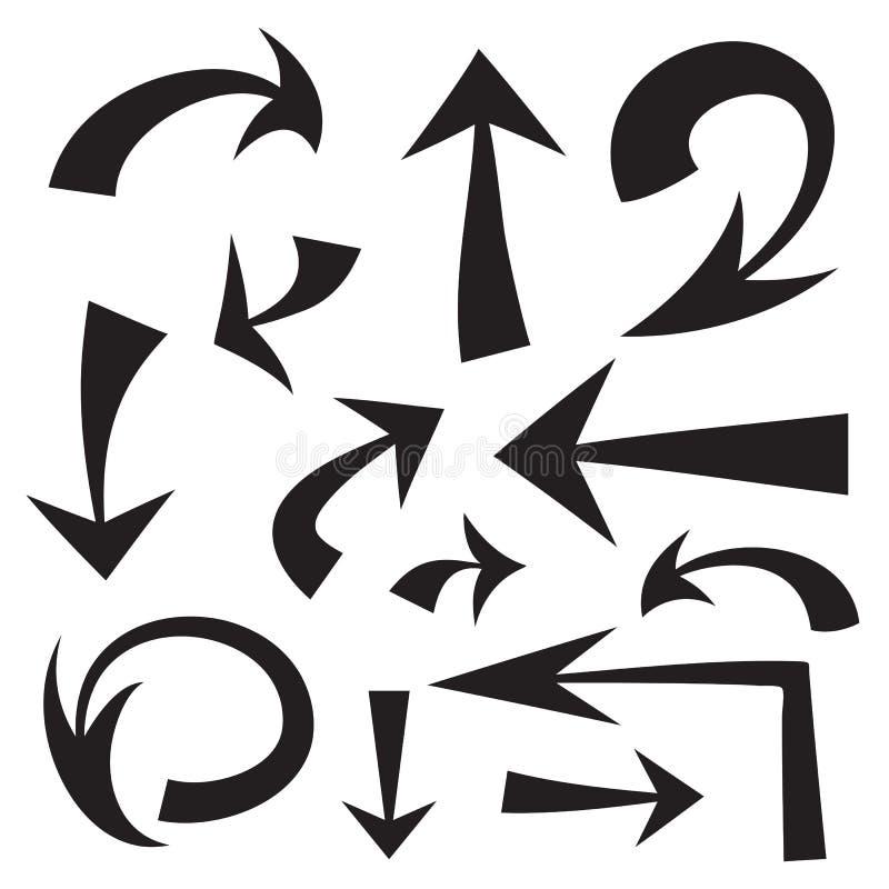 Комплект вектора стрелок нарисованных рукой черных на белизне иллюстрация вектора