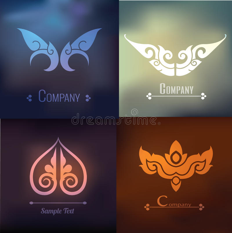Комплект вектора тайского дизайна и украшения орнамента дальше на предпосылке нерезкости иллюстрация штока