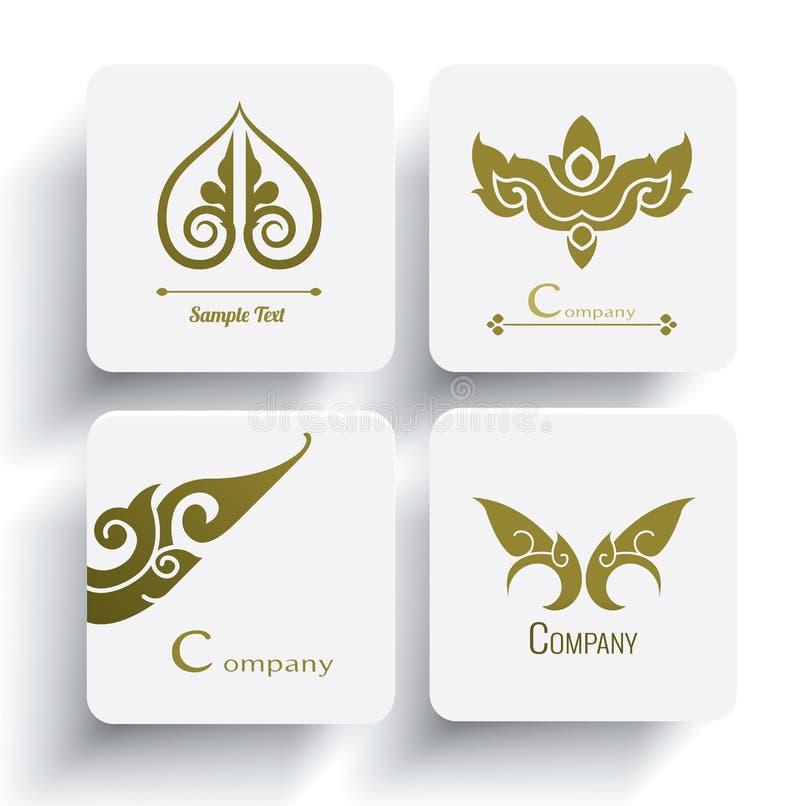 Комплект вектора тайского дизайна и украшения орнамента иллюстрация штока