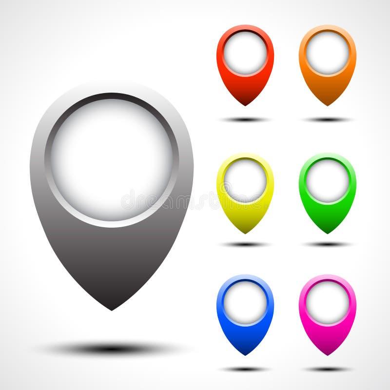 Комплект вектора указателя карты цвета иллюстрация штока