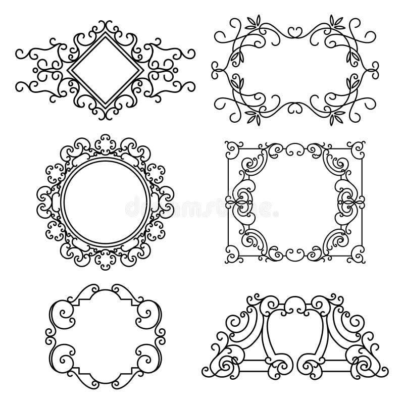 Комплект вектора флористических линейных рамок бесплатная иллюстрация