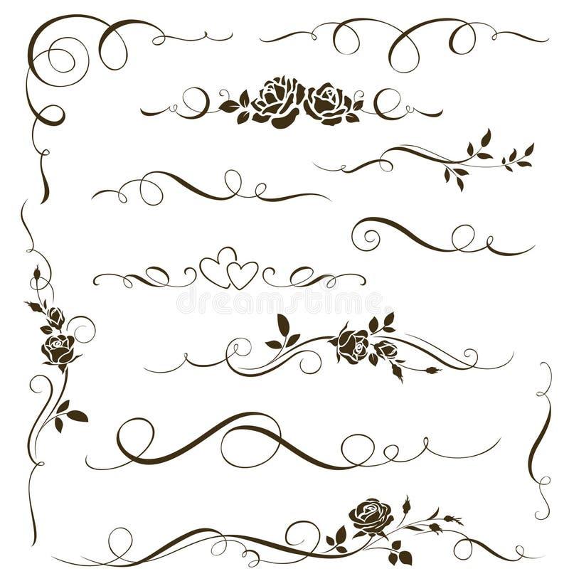 Комплект вектора флористических каллиграфических элементов, рассекателей, орнаментов с розами Силуэты цветков иллюстрация вектора