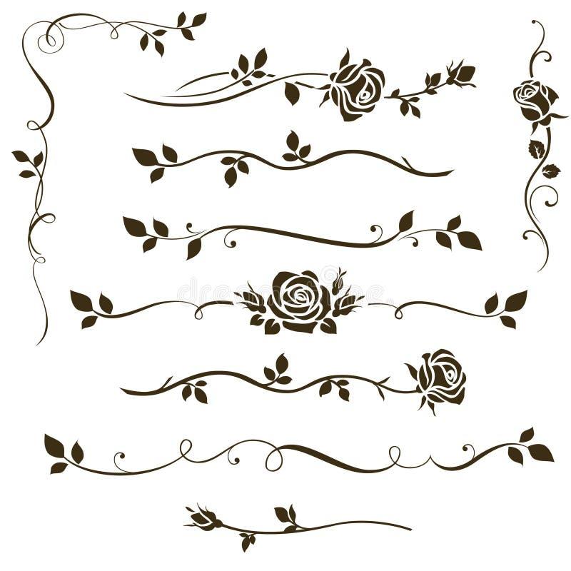 Комплект вектора флористических рассекателей, каллиграфических элементов, декоративных розовых силуэтов для wedding дизайна пригл иллюстрация штока