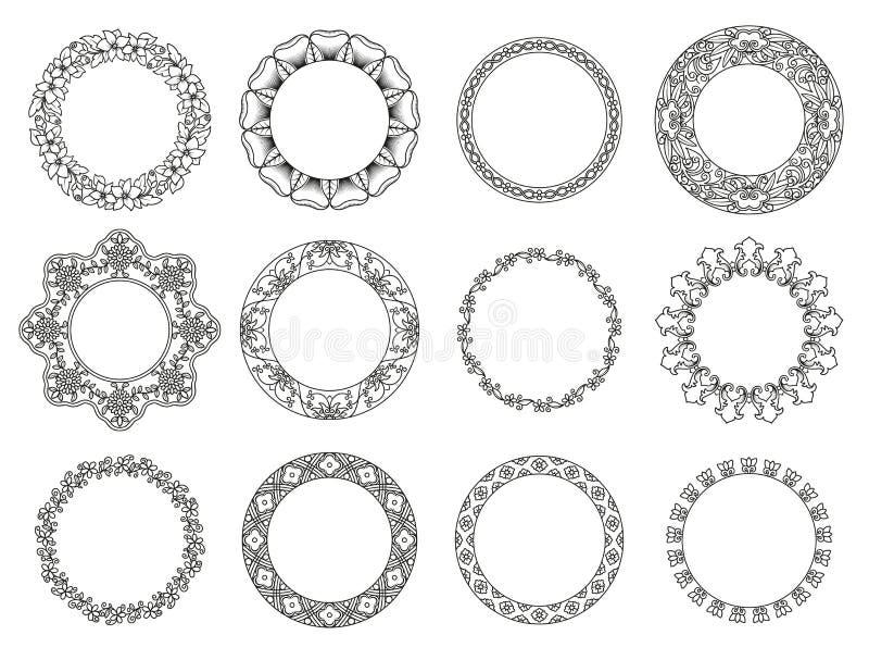 Комплект вектора флористических элементов для этнического оформления иллюстрация штока