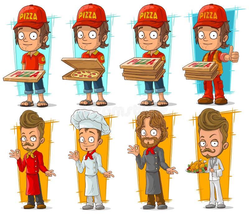 Комплект вектора характера шеф-повара носильщика мелких грузов и кашевара пиццы шаржа иллюстрация штока
