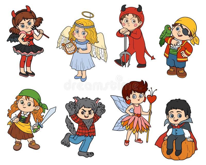 Комплект вектора характеров детей хеллоуина иллюстрация вектора