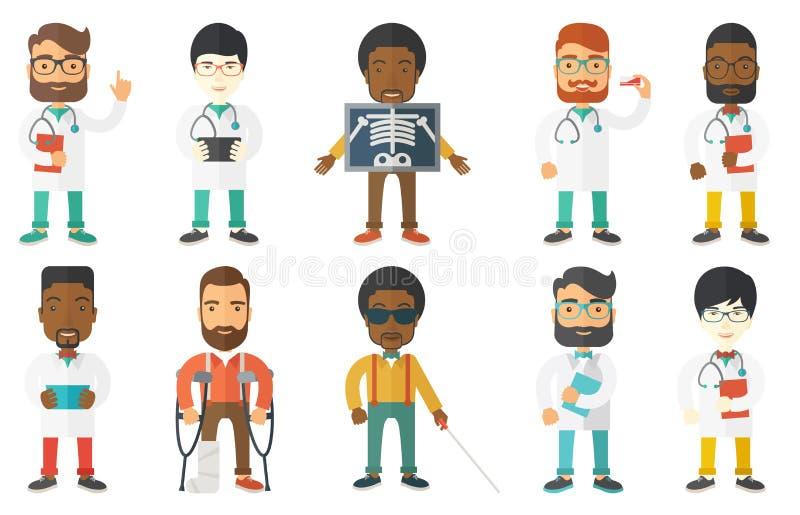 Комплект вектора характеров и пациентов доктора бесплатная иллюстрация