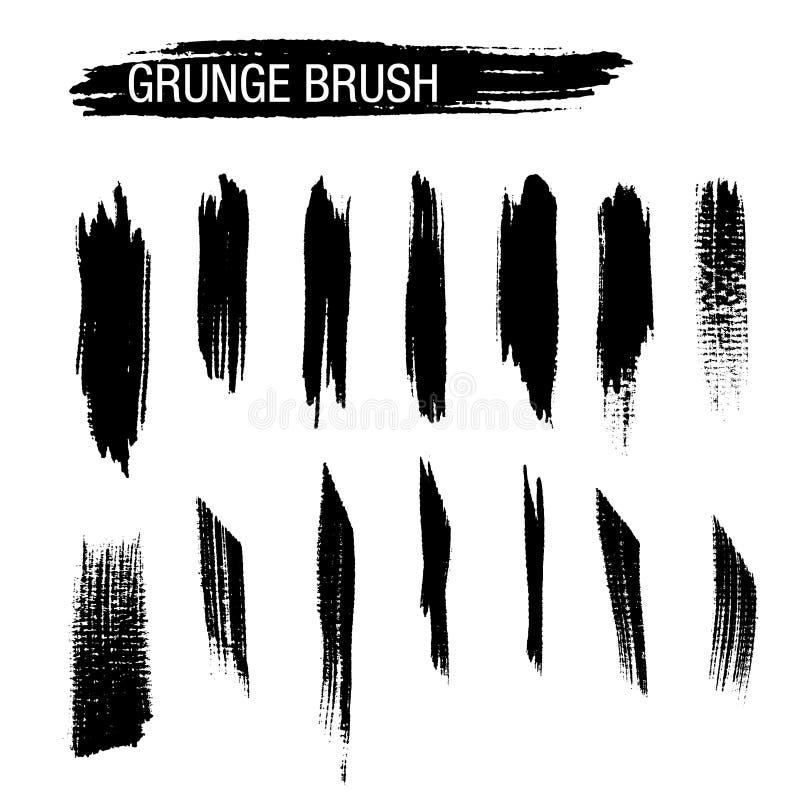 Комплект вектора ходов щетки grunge стоковые изображения rf