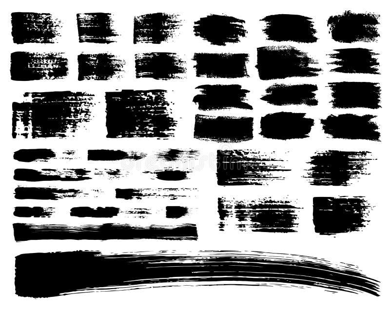 Комплект вектора ходов acrylic щетки Черный цвет на белой предпосылке Покрашенные рукой элементы усадьбы Чертеж чернил пакостно бесплатная иллюстрация
