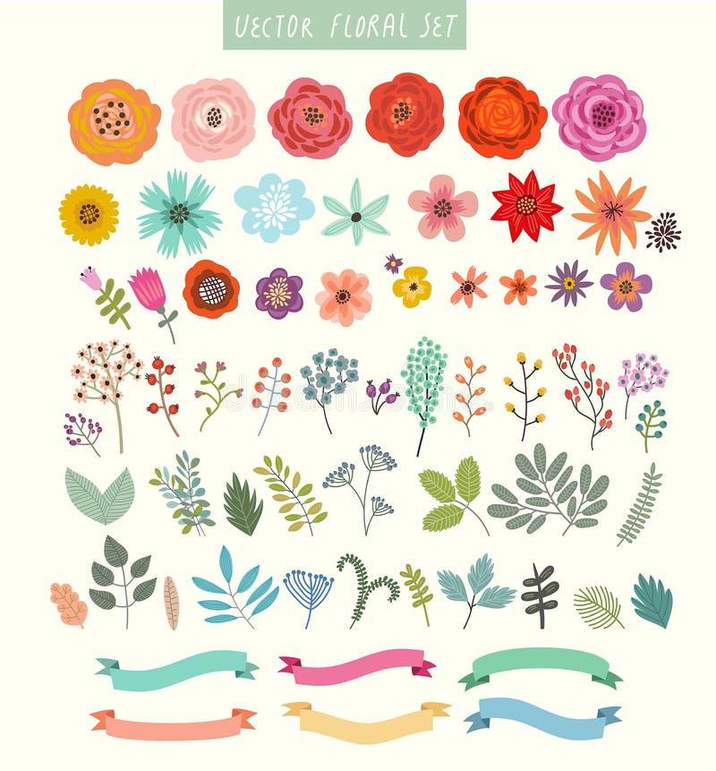 Комплект вектора цветков и ярлыков иллюстрация вектора