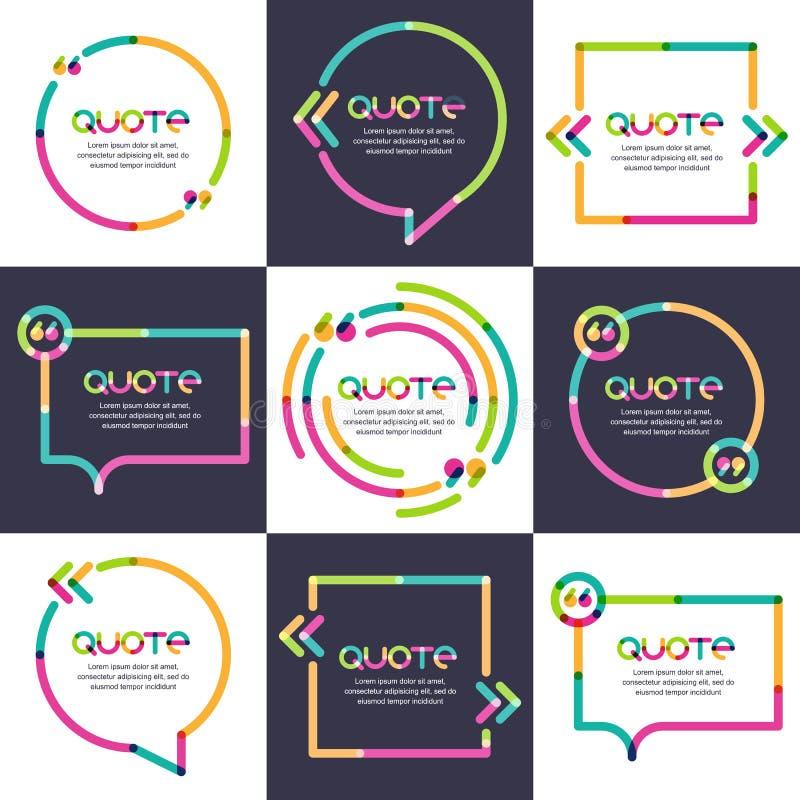 Комплект вектора цитаты формирует шаблон Multicolor ультрамодная предпосылка иллюстрация штока
