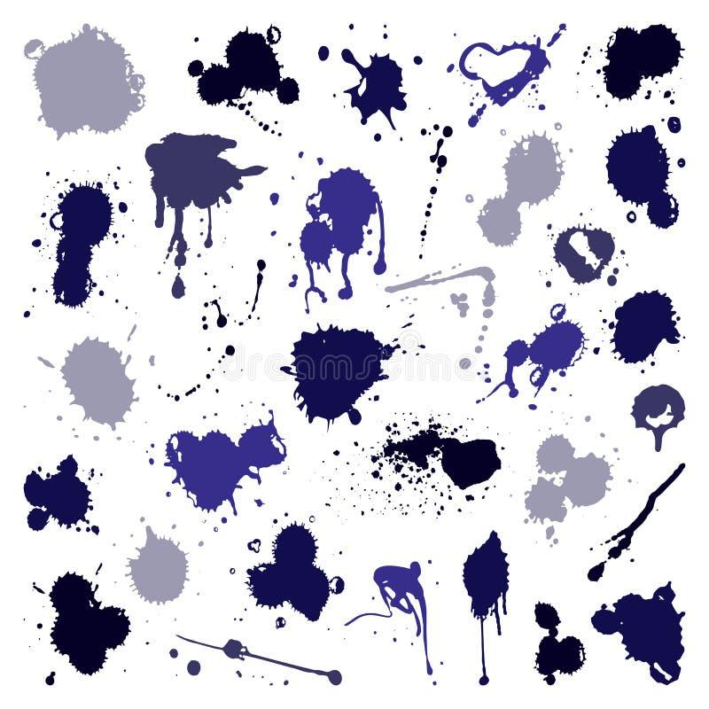 Комплект вектора чернил брызгает элемент дизайна grunge собрания splatter помарками и цвета фона искусства жидкость грязного пако бесплатная иллюстрация