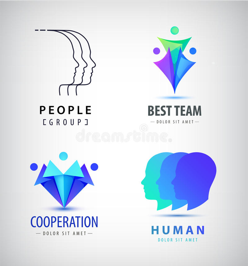 Комплект вектора человека, логотипов людей Творческая группа, сыгранность, семья, соединение подписывает иллюстрация штока