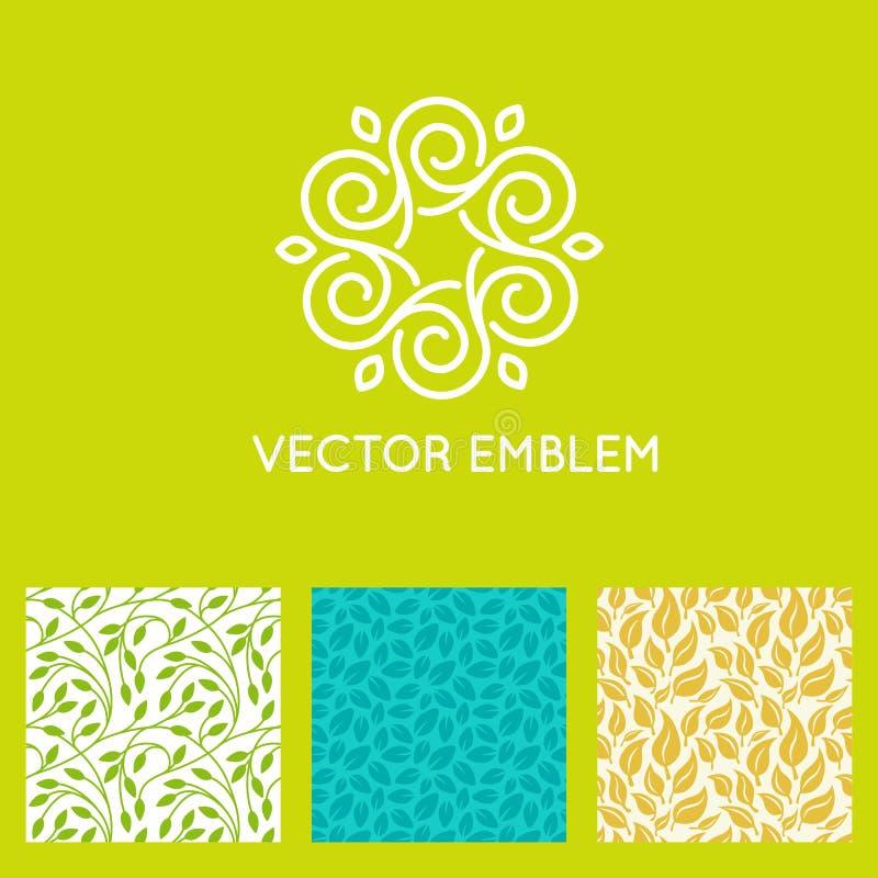 Комплект вектора шаблонов дизайна логотипа, безшовных картин иллюстрация вектора