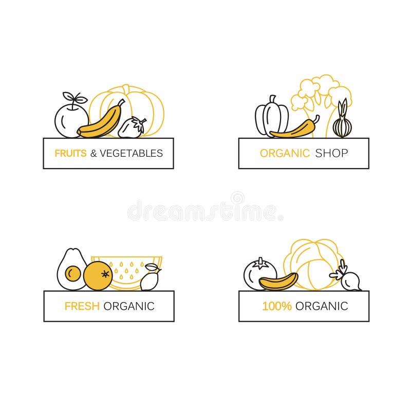 Комплект вектора шаблонов дизайна логотипа в линии стиле для органических продуктов - символах значка фруктов и овощей иллюстрация вектора