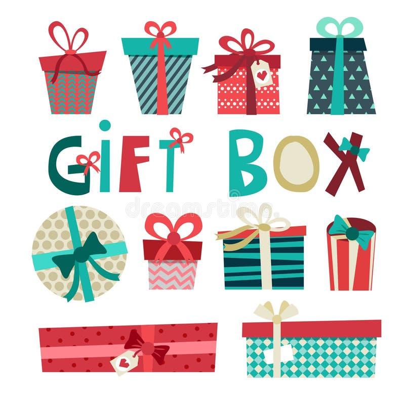 Комплект вектора шаржа коробки подарка на день рождения Оборачивать подарка с лентами иллюстрация вектора