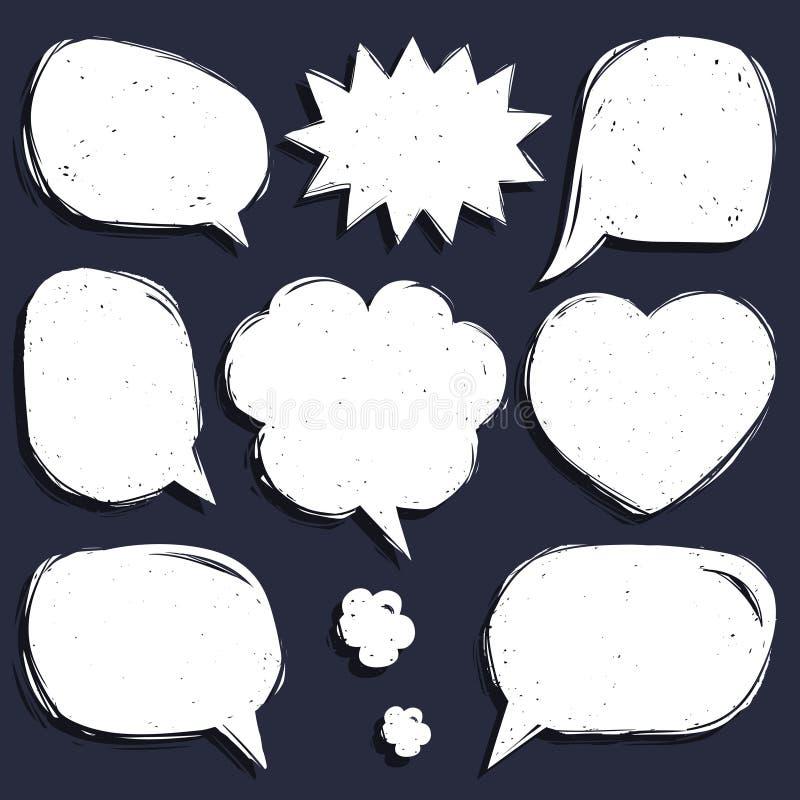 Комплект вектора шуточной речи клокочет в ультрамодном плоском стиле Рука сделала эскиз к пустым окнам диалога иллюстрация вектора