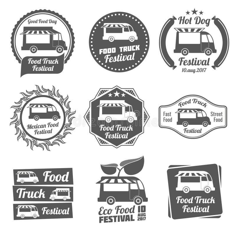 Комплект вектора эмблем и логотипов фестиваля тележки еды винтажный иллюстрация вектора