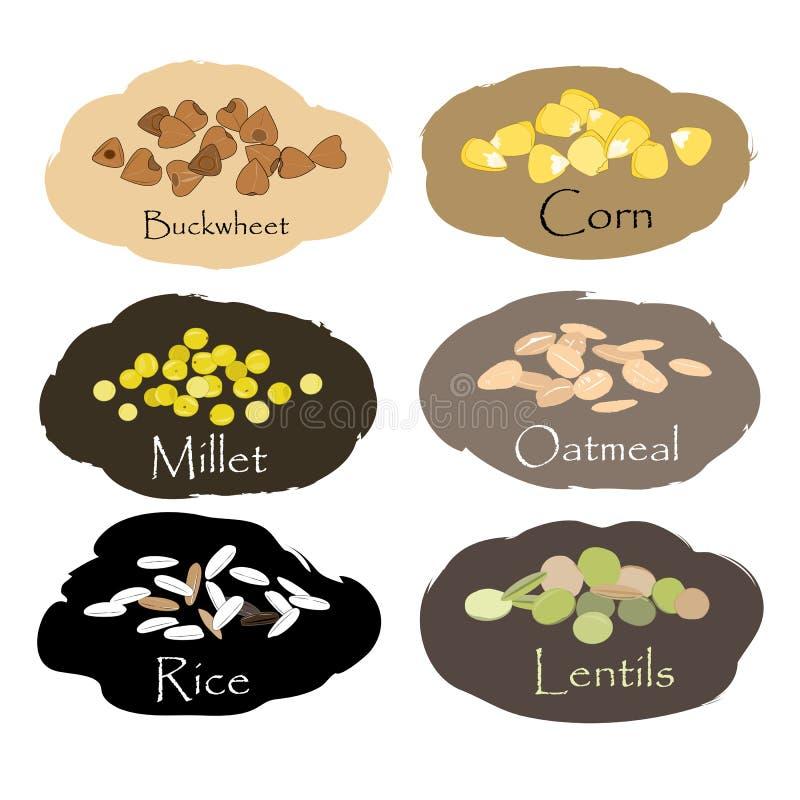 Комплект вектора эмблем хлопьев и зерна Для пакуя гроутов, печати опарника кухни, рекламируя здоровую еду бесплатная иллюстрация