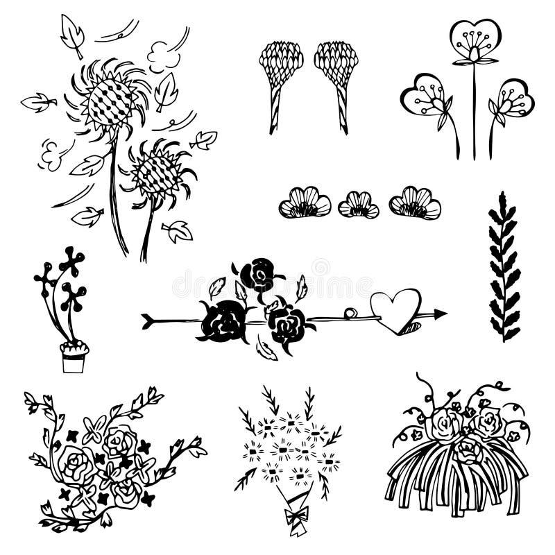 Комплект вектора эскиза цветка, эскиза doodle чертежа свободной руки на белой предпосылке бесплатная иллюстрация