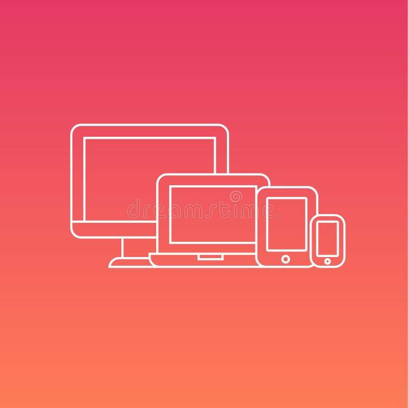Комплект вектора электронных устройств цифров иллюстрация штока