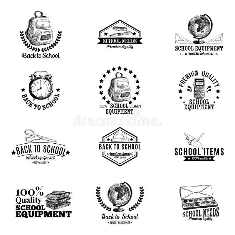 Комплект вектора ярлыков, значков с рукой школы иллюстрация штока