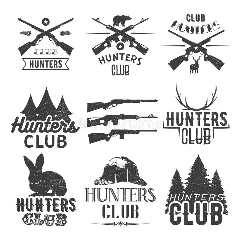 Комплект вектора ярлыков клуба звероловства в винтажном стиле Конструируйте элементы, эмблемы, значки, логотип охоты иллюстрация штока
