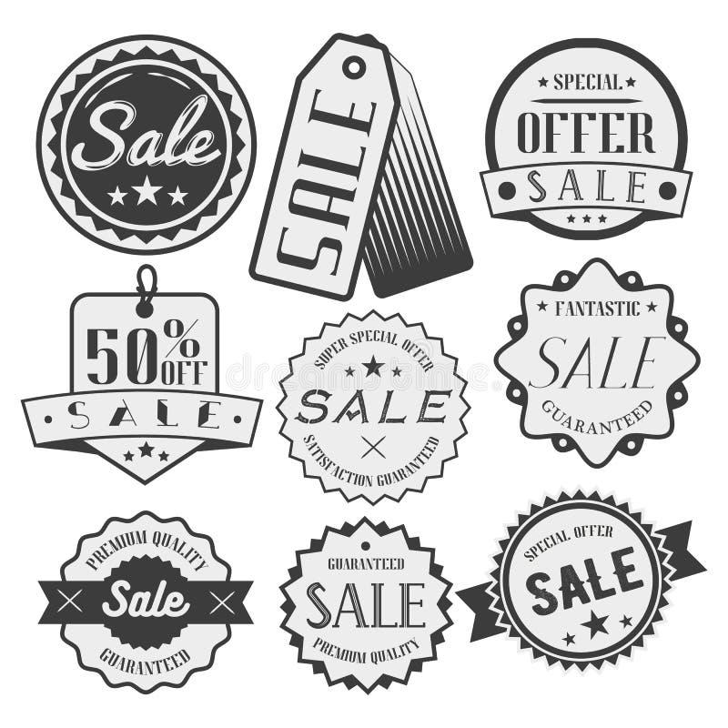 Комплект вектора ярлыков продажи и скидки, значков, бирок, значков Специальное предложение Эмблемы, стикеры в monochrome стиле иллюстрация штока