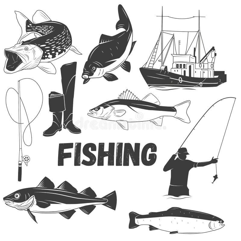 Комплект вектора ярлыков рыбной ловли в винтажном стиле Конструируйте элементы, эмблемы, значки, логотип и значки иллюстрация вектора
